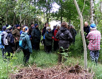 Participants shelter from rain and wind within a croft woodland at Mellon Charles