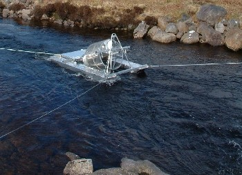 Rotary screw trap of the sort deployed in Wester Ross