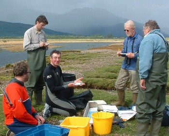 Monitoring sea lice on sea trout by the River Carron in 2008